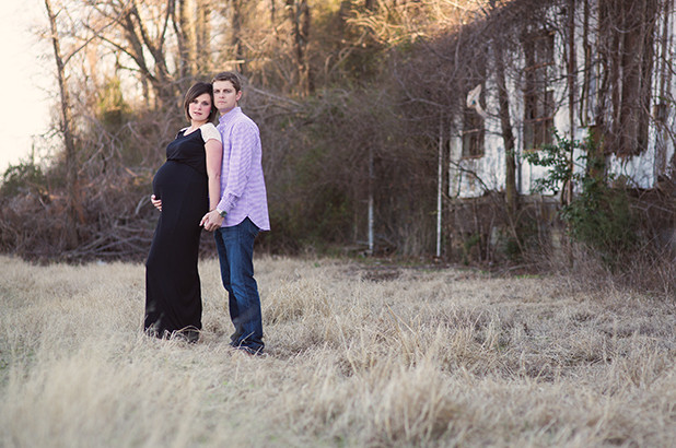 Maternity Portrait in field with black dress