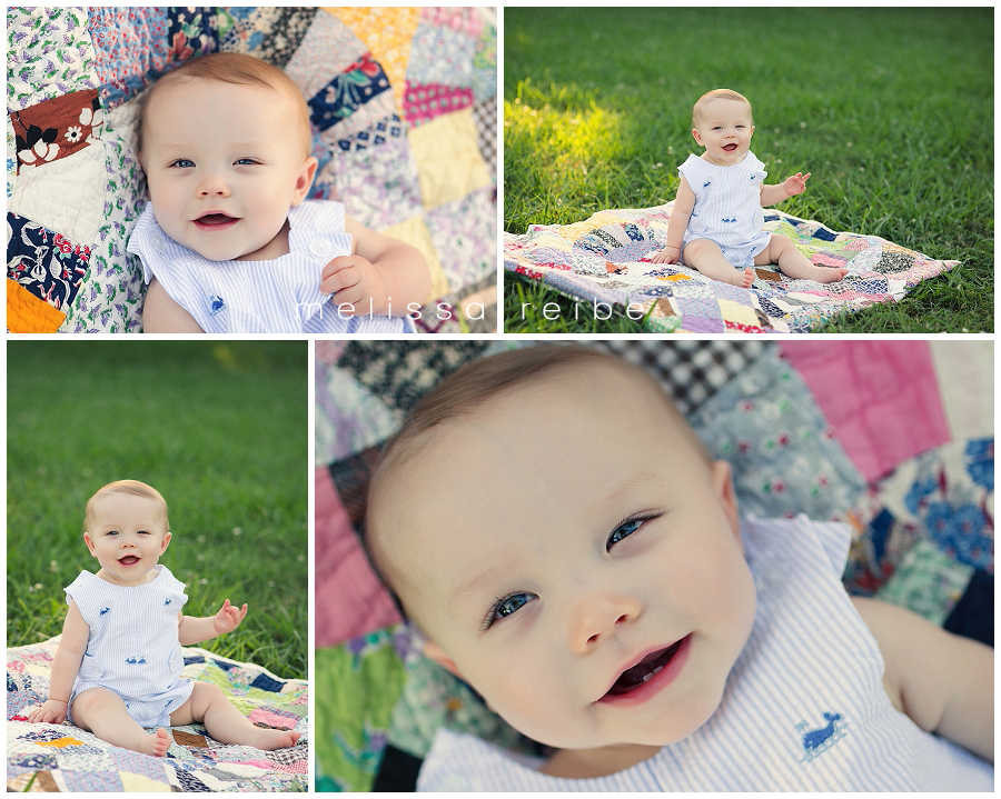 arkansas baby photographer on quilt