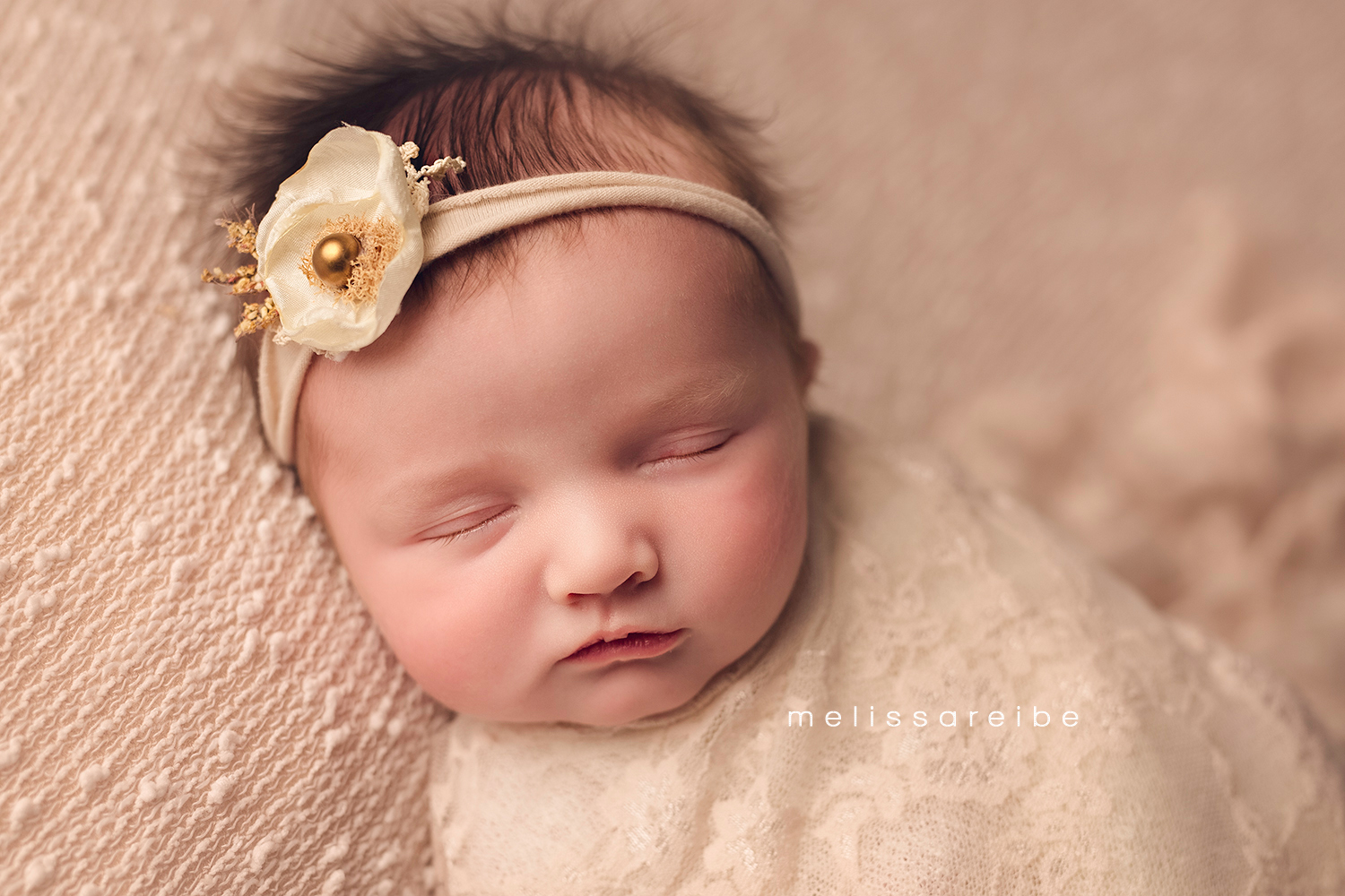 1130_Conway Newborn Photography_lace_headband_newborn girl_swaddled