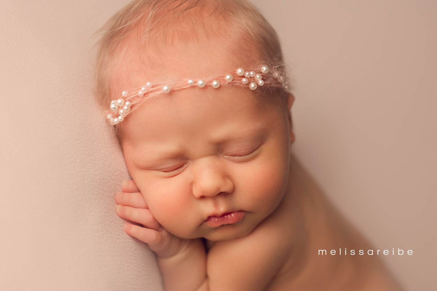1222_Arkansas Newborn Photographer_Pearl Headband_Closeup Newborn