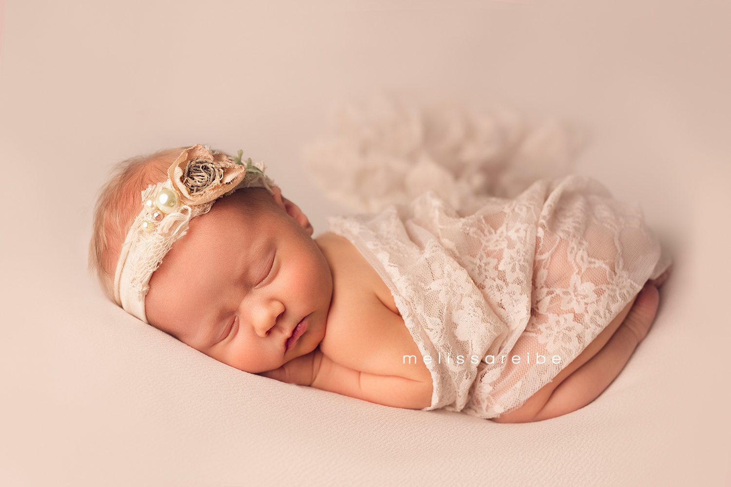 1222_Central Arkansas Newborn Photographer_Cream_Lace_Pearls_Newborn